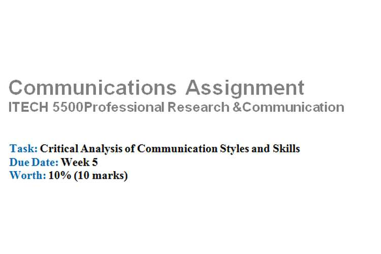 Critical Analysis of Communication Styles Skills Assignment Brief
