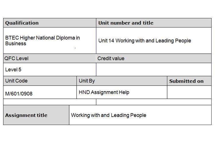 Unit 14 Working with and Leading People Assignment Brief