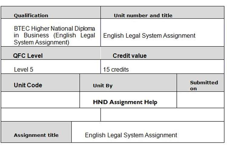 Unit 25 English Legal System Assignment