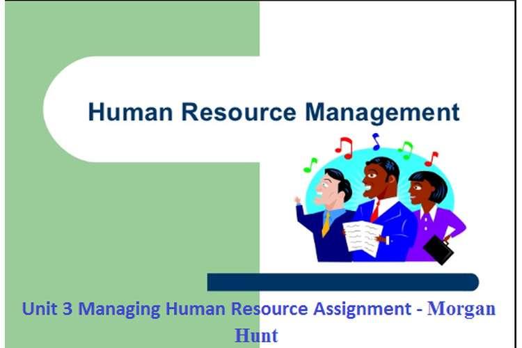 Unit 3 Managing Human Resource Assignment - Morgan Hunt