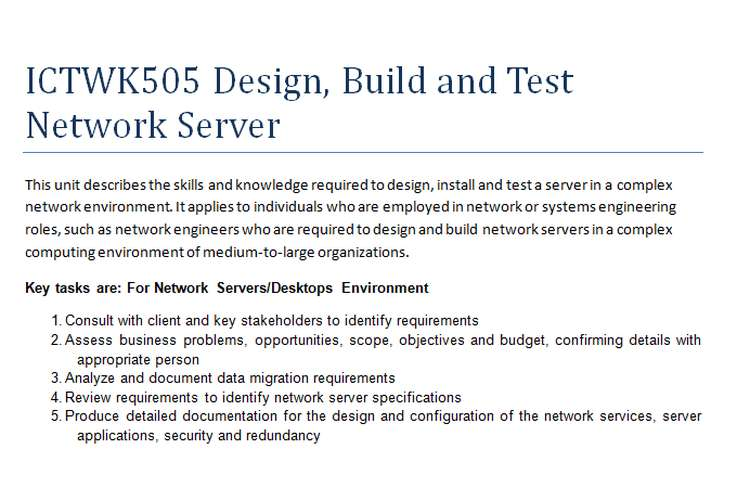 ICTWK505 Design, Build and Test Network Server