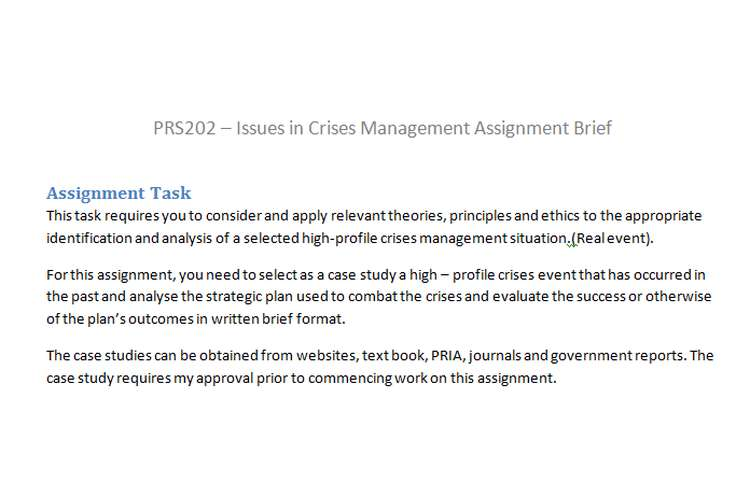 PRS202 Issues Crises Management Assignment Brief