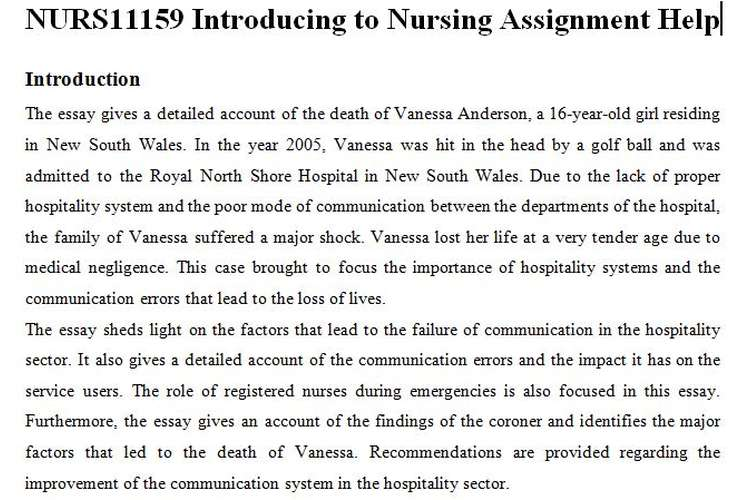 NURS11159 Introduction Nursing Assignment Help