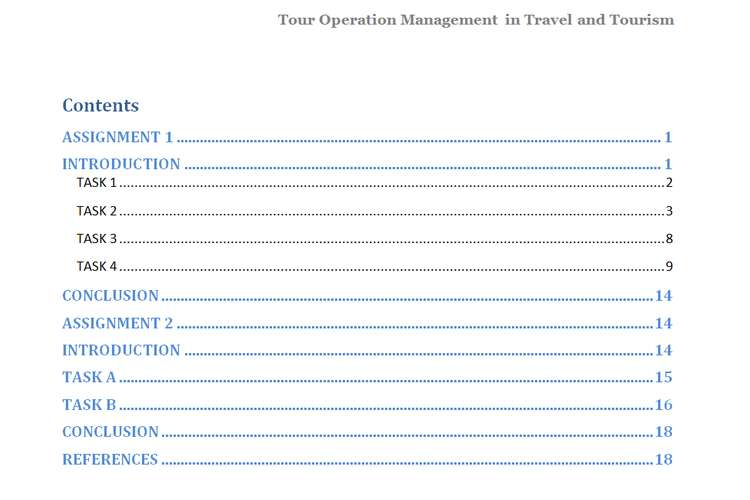 Unit 14 Tour Operations Management Assignment - Malaysia