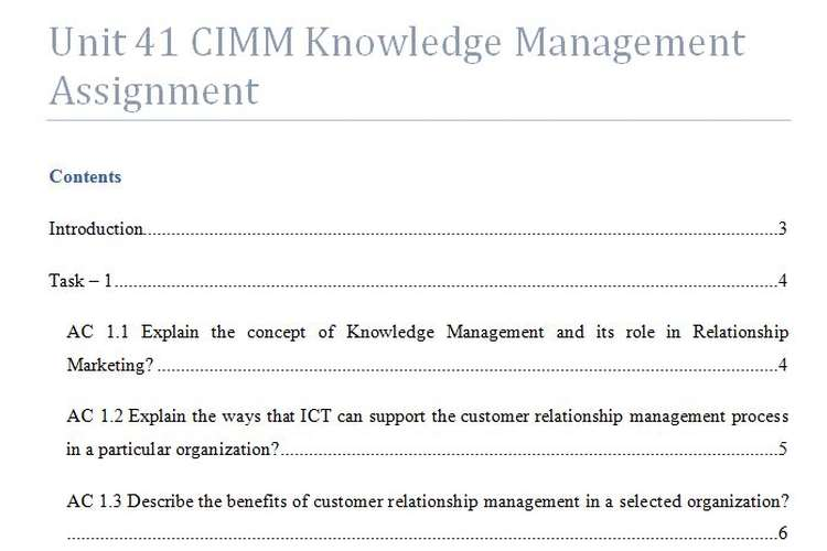 Unit 41 CIMM Knowledge Management Assignment
