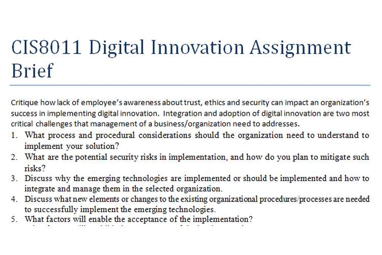 CIS8011 Digital Innovation Assignment Brief