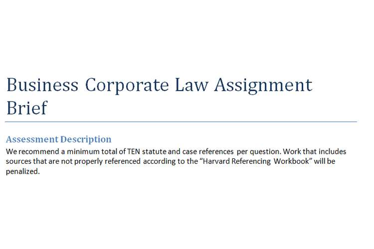 Corporate Business Law Assignment Brief
