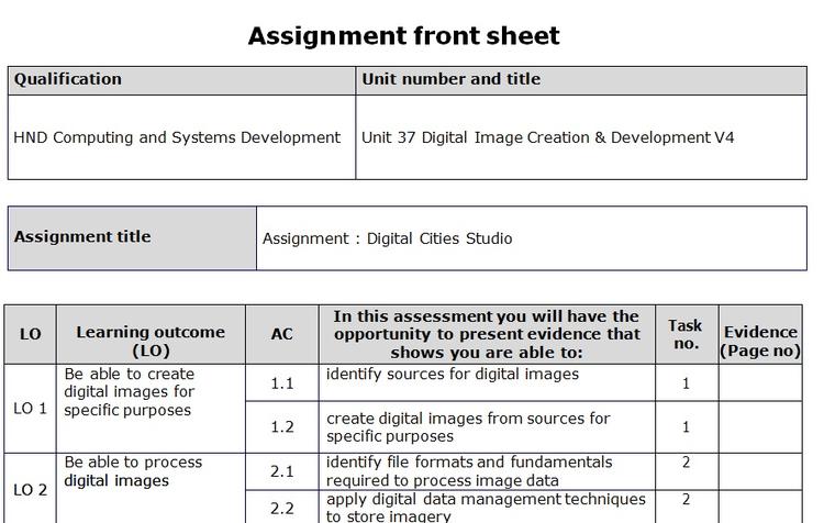Digital Image Creation & Development Assignment