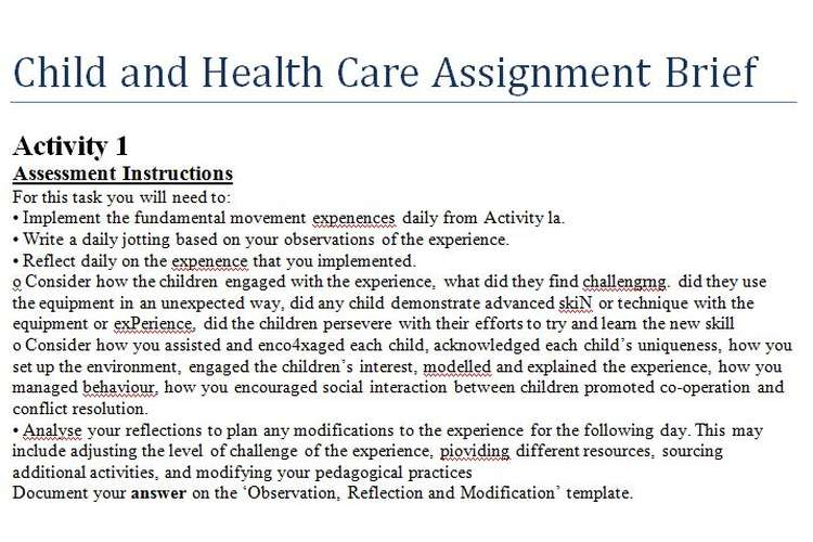 Child Health Care Assignment Brief