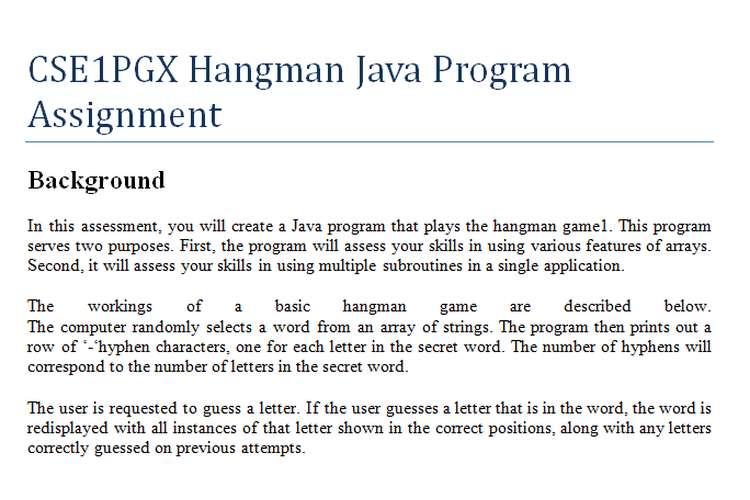 CSE1PGX Hangman Java Program Assignment