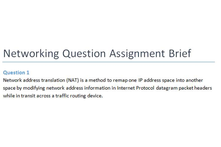 Networking Question Assignment Brief