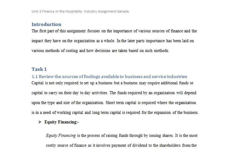 Unit 2 Finance in Hospitality Industry Assignment Sample