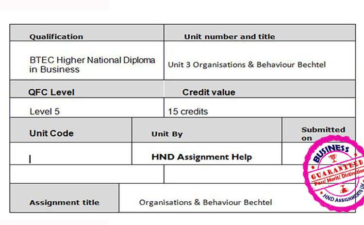 Unit 3 Organisations & Behaviour Bechtel Assignment