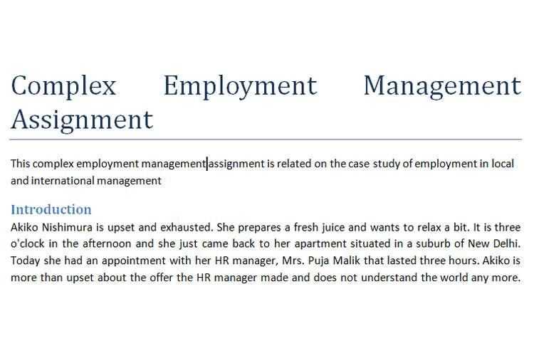 Complex Employment Management Assignment
