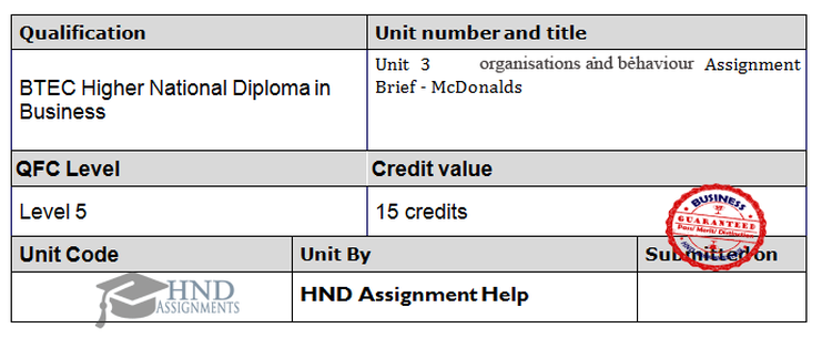 Organisations and Behaviour Assignment Brief - McDonald