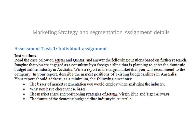 Marketing Strategy Segmentation Assignment details