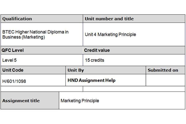 Unit 4 Marketing Principles Assignment Brief - Sainsbury