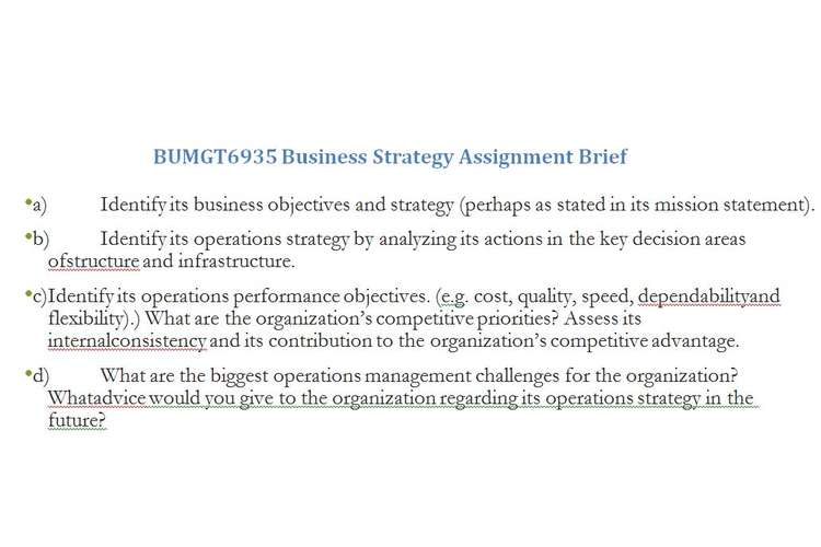 BUMGT6935 Business Strategy Assignment Brief
