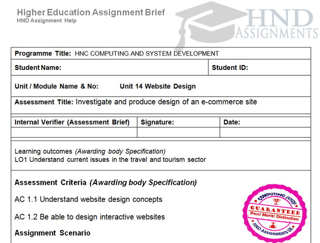 Website Design Assignment Brief