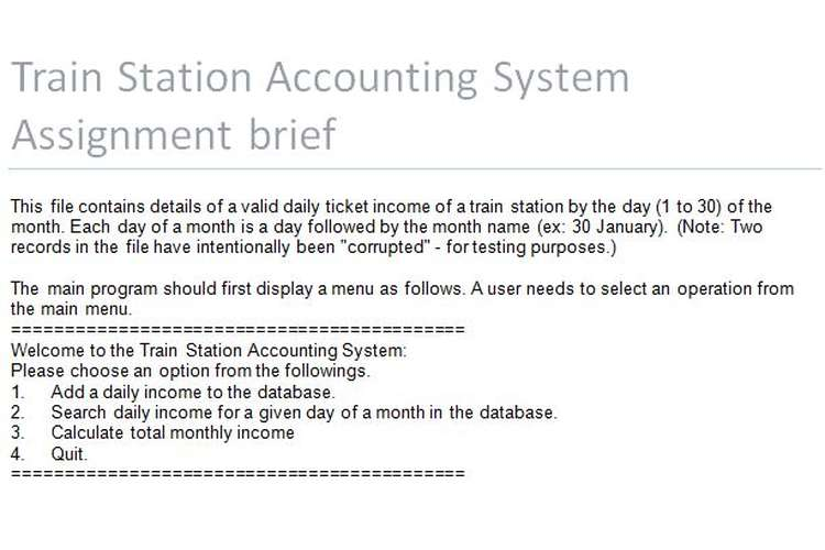 Train Station Accounting System Assignment brief