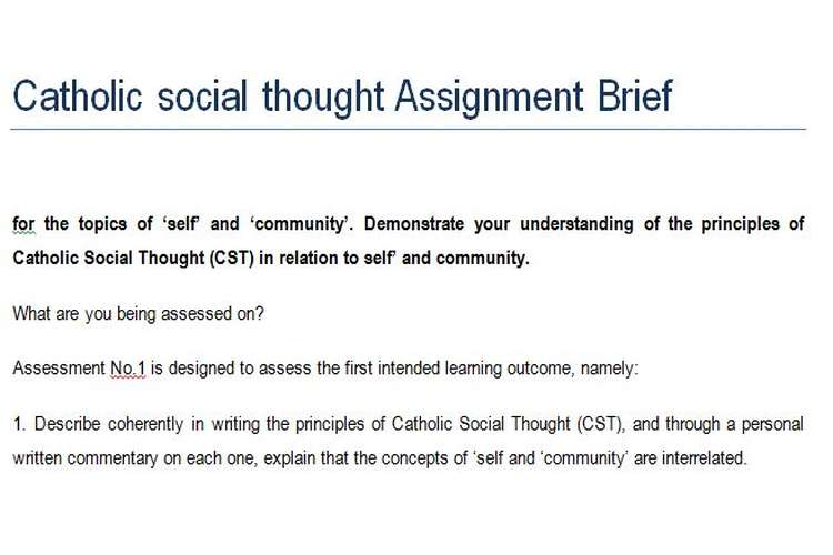 Catholic social thought Assignment Brief