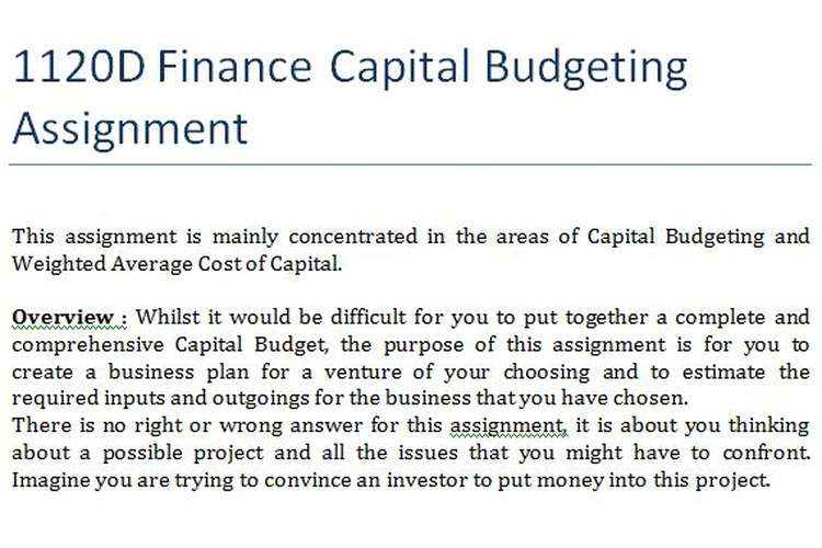 1120D Finance Capital Budgeting Assignment