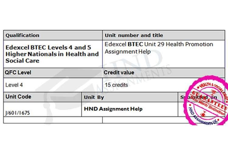 Edexcel Unit 29 Health Promotion Assignment