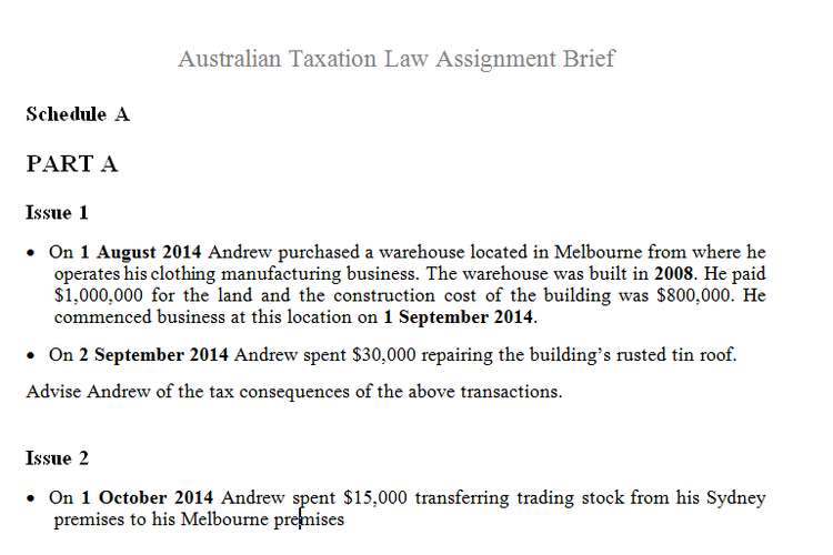Australian Taxation Law Assignment Brief