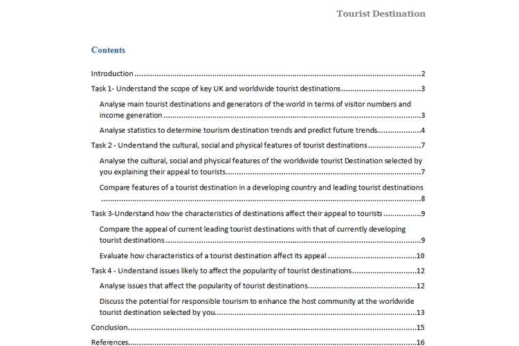 Unit 9 Tourist Destination Assignment Solution