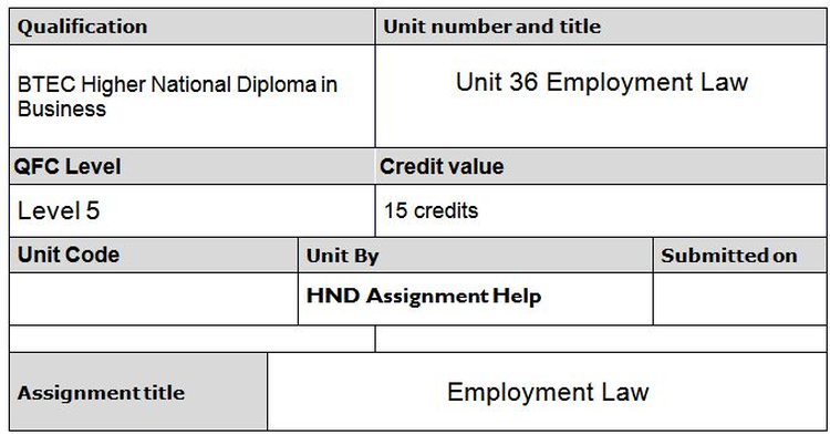 Unit 36 Employment Law Assignment Brief