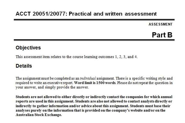 ACCT 20051/20077 Practical Written Assessment Questions