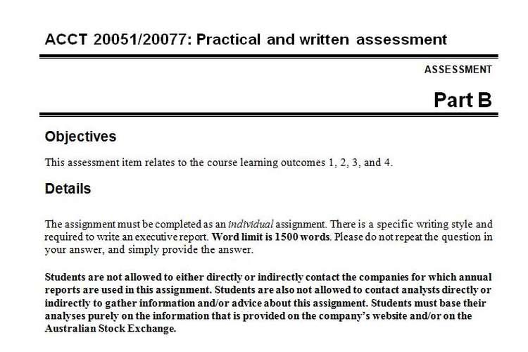 ACCT 20051/20077 Practical Written Assessment Questions