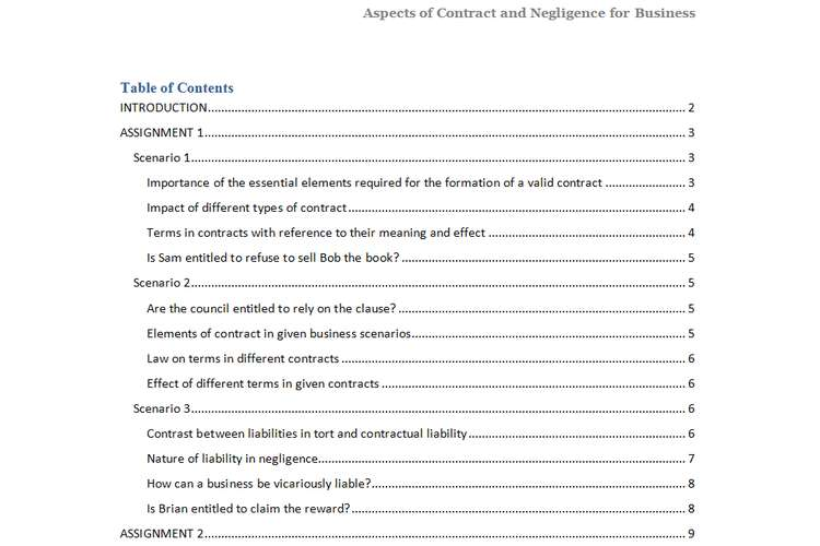 Unit 5 Aspects of Contract and Negligence Assignment