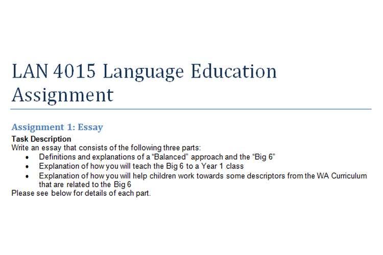 LAN 4015 Language Education Assignment