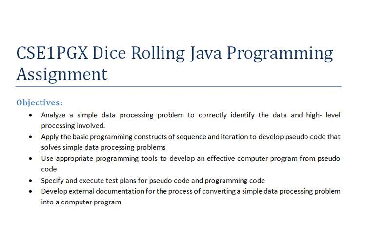 CSE1PGX Dice Rolling Java Programming Assignment