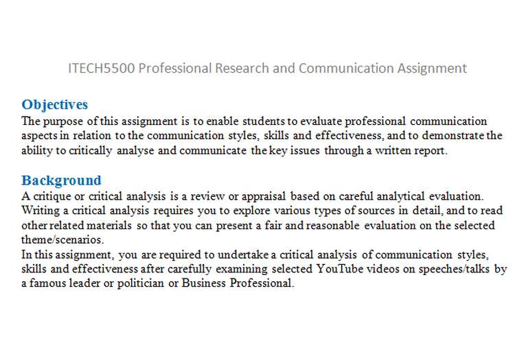 ITECH5500 Professional Research Communication Assignment
