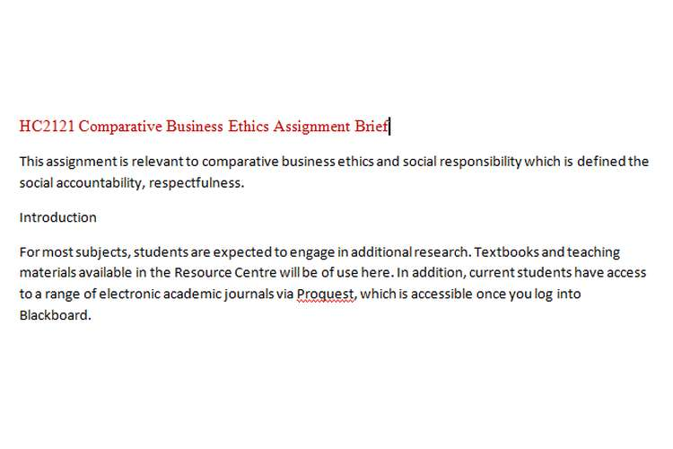 HC2121 Comparative Business Ethics Assignment Brief