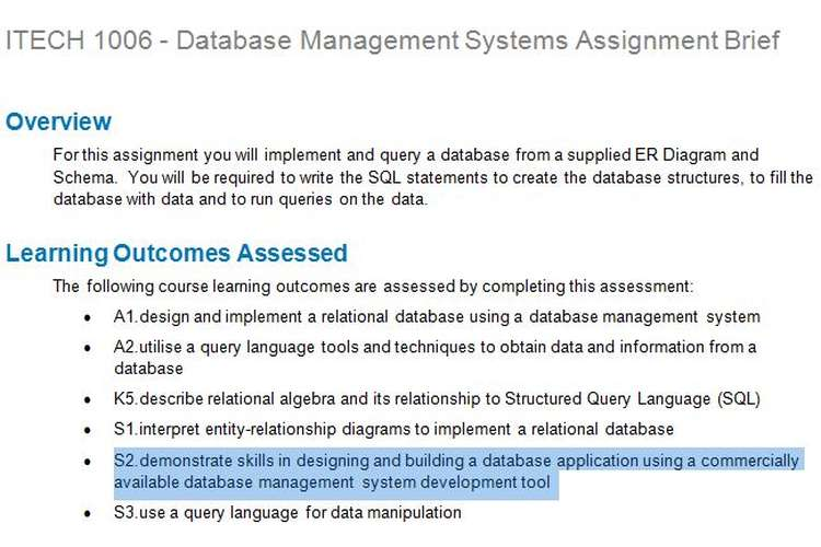 ITECH 1006 Database Management Systems Assignment Brief