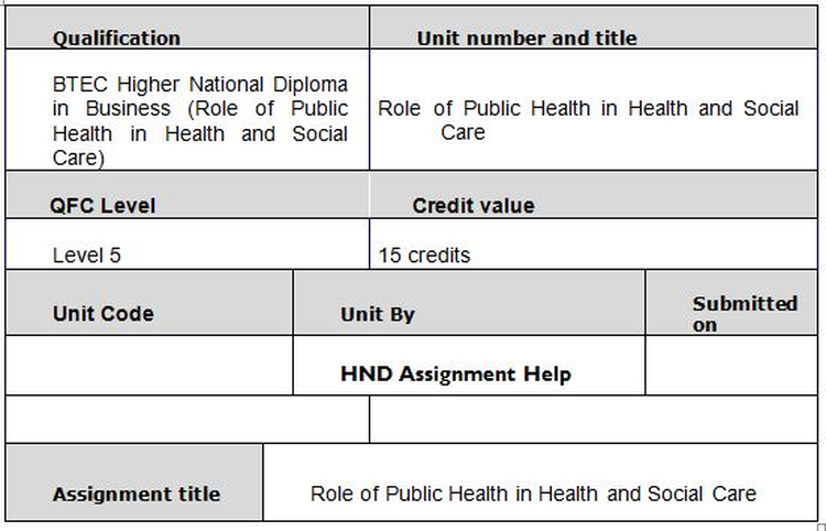 Unit 11 Role of Public Health and Social Care Assignment