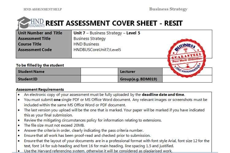 Unit 7 Business Strategy Assignment Brief - FUJITSU