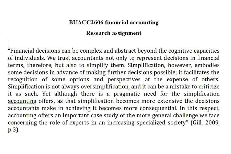 BUACC2606 financial accounting Research assignment