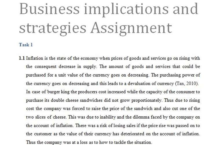 Business implications strategies Assignment