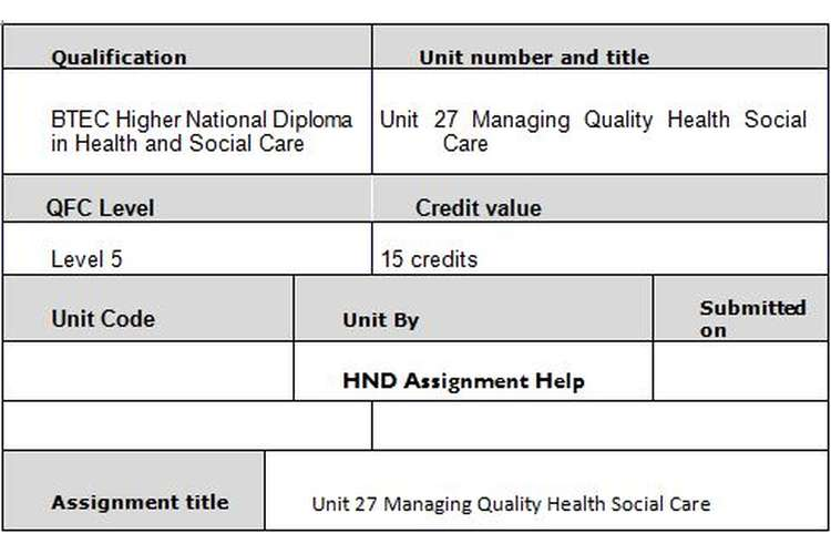 Unit 27 Managing Quality in Health and Social Care Assignment Brief