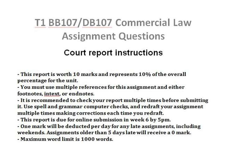 T1 BB107/DB107 Commercial Law Assignment Questions