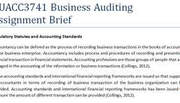 BUACC3741 Business Auditing Assignment Brief