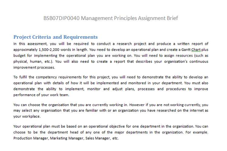 BSB07DIP0040 Management Principles Assignment Brief