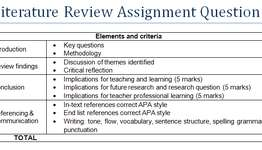 Literature Review Assignment Question