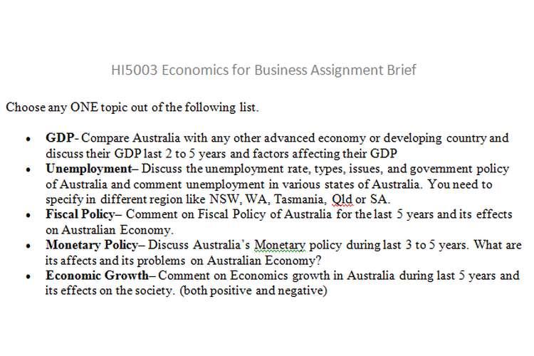 HI5003 Economics Business Assignment Brief