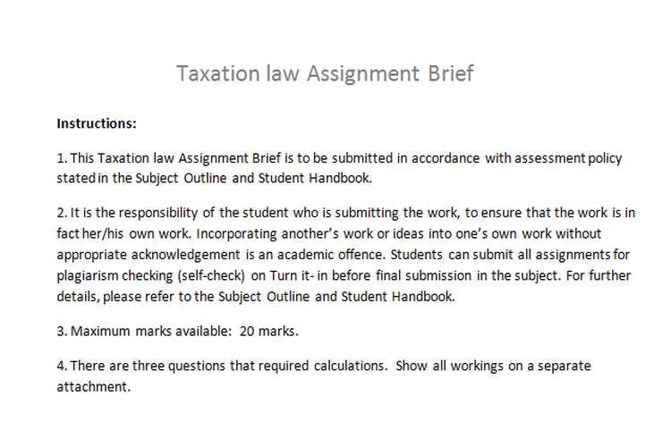 Taxation law Assignment Brief