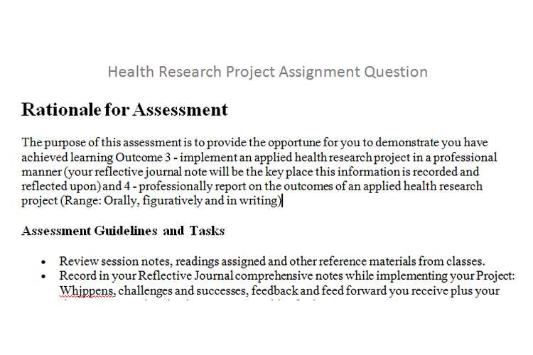 Health Research Project Assignment Question